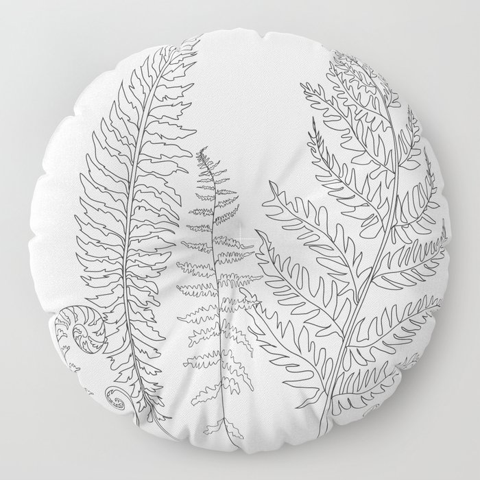 Minimal Line Art Fern Leaves Floor Pillow