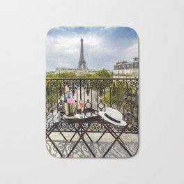 Eiffel Tower Paris Balcony View Bath Mat