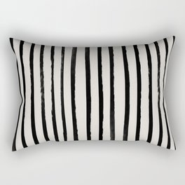 Vertical Black and White Watercolor Stripes Rectangular Pillow