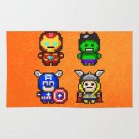 superhero Area & Throw Rugs featuring Superhero Gathering by Daizy Jain