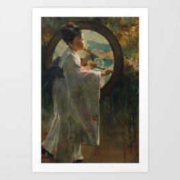 Pieter de Josselin de Jong - Japanese Girl with a Wagasa - Dutch Victorian Retro Vintage Oil Paintin Art Print