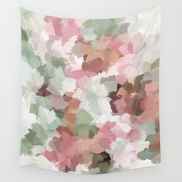 Sage Mint Green Fuchsia Blush Pink Abstract Flower Wall Art, Springtime Painting Print, Modern Wall Wall Tapestry