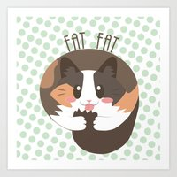 fat Art Prints featuring Fat Fat the Cat! by Fat Fat