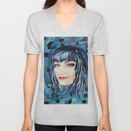 Sensual Feminine  Portrait Pop Surrealism Contemporary Abstract Unisex V-Neck