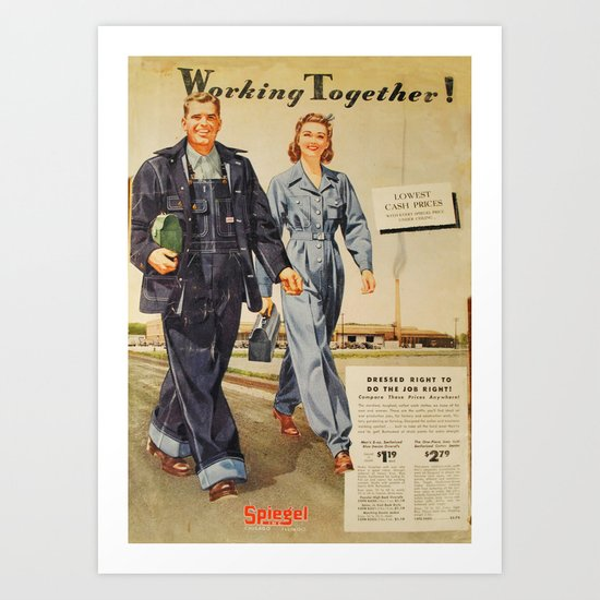 1942 Working Together Cover Art Print