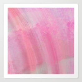 Modern abstract pink coral watercolor brushstrokes Art Print
