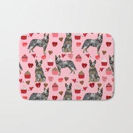Australian Cattle Dog blue heeler valentines day cupcakes hearts love dog breed Bath Mat