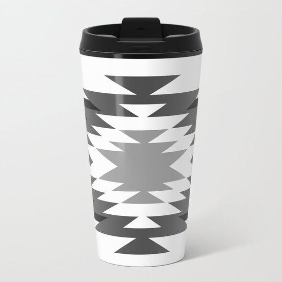 Aztec - black and white Metal Travel Mug