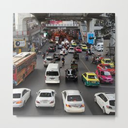 Downtown Bangkok Traffic, urban Metal Print