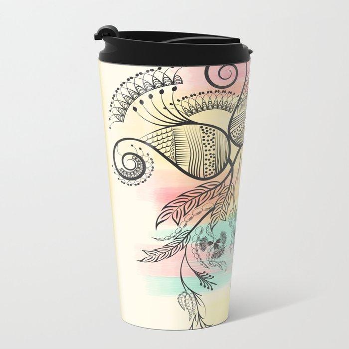 Decorative Floral Metal Travel Mug