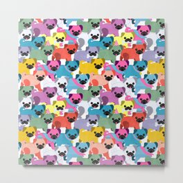 Colored Pugs Pattern - no1 Metal Print