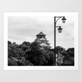 Osaka Castle BNW Art Print