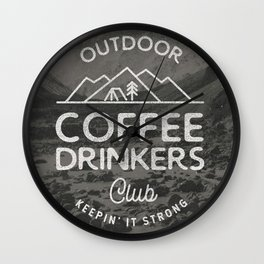 Outdoor Coffee Drinkers Club Wall Clock