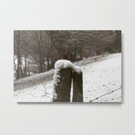 Snow covered fencing postwith barbed wire Metal Print
