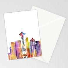 Seattle landmarks watercolor poster Stationery Cards