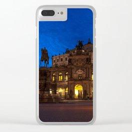 Germany-Dresden Semper Opera blue hour Clear iPhone Case