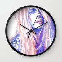 cara Wall Clocks featuring Cara by Ava Carmen