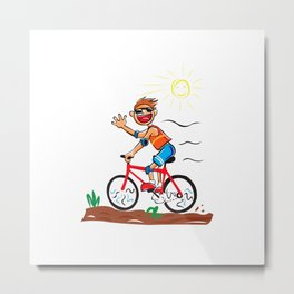 boy cycling Metal Print