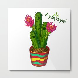 Ayayaye Cactus Flower Metal Print