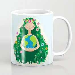 Beautiful Flowing Flower Earth Mother Figure Coffee Mug