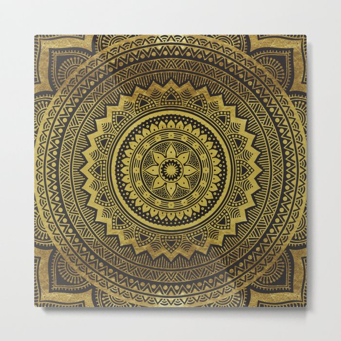 Black and Gold Mandala Metal Print