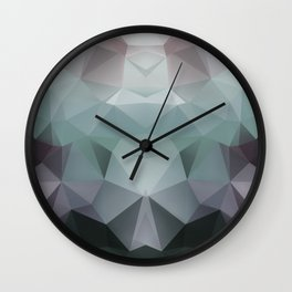 Abstract geometric polygonal pattern in grey and green tones . Wall Clock