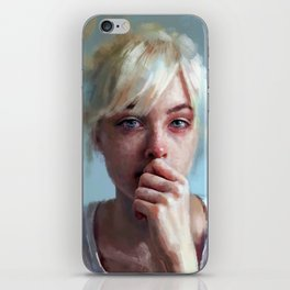crying portrait iPhone Skin