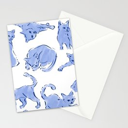 Cat Crazy blue white Stationery Cards