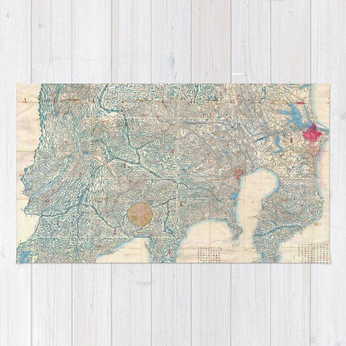 Vintage Map Of Tokyo And Mt Fuji Japan 1843 Rug By Bravuramedia