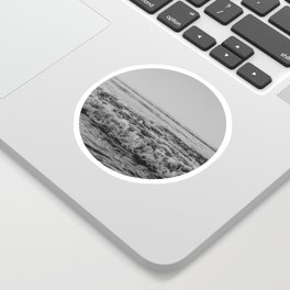 Black and White Pacific Ocean Waves Sticker