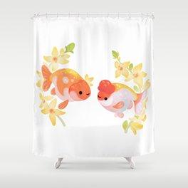 Ranchu and Forsythias Shower Curtain