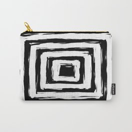 Minimal Black and White Square Rectangle Pattern Carry-All Pouch