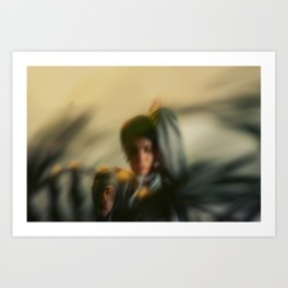 Blurred woman, dancer with plants, shadows, forest Art Print