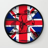 british flag Wall Clocks featuring British Flag Scooter by Hello Tokyo Go Go