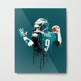 Sports art _ Nick Foles on green Metal Print