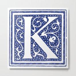 Floral Letter Type - Letter K Metal Print