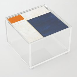Orange, Blue And White With Golden Lines Abstract Painting Acrylic Box