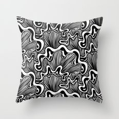 Black and white organic striped shapes Throw Pillow