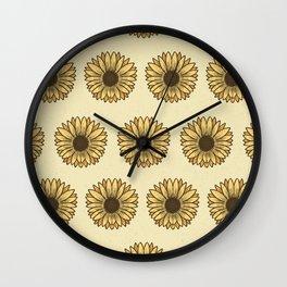 Retro Pop Sunflowers x Pastel Yellow Wall Clock
