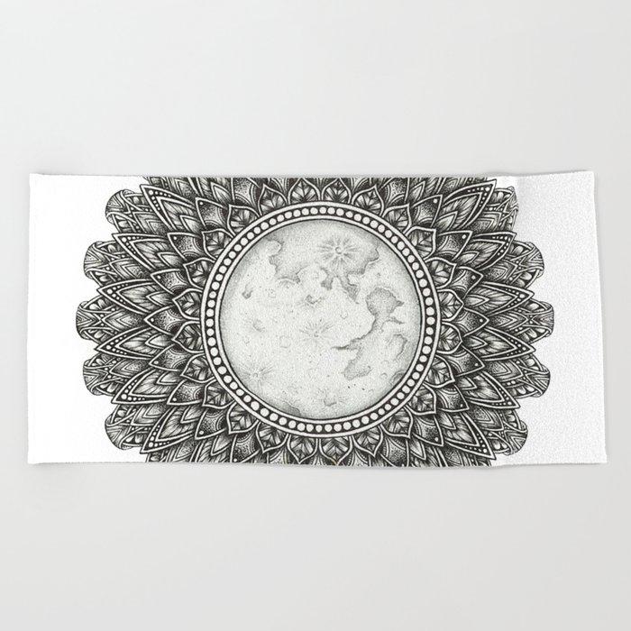 Black and White Moon Mandala Beach Towel