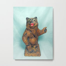Sexy Hitchhiking Bear Statue Metal Print