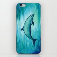 psychadelic iPhone & iPod Skins featuring Indigo Lagoon ~ Dolphin Watercolor by Amber Marine