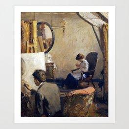 Arthur Clifton Goodwin Louis Kronberg in His Studio in Copley Hall Art Print