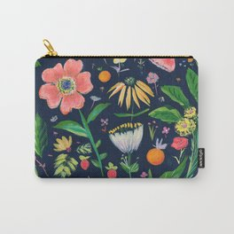 Flowers on blue Carry-All Pouch