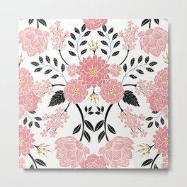 Pink, White, Black, Blue & Yellow Elegant Floral Pattern Metal Print