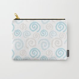 Hand Drawn Ink Swirl Pattern - Light Blue and Grey Carry-All Pouch