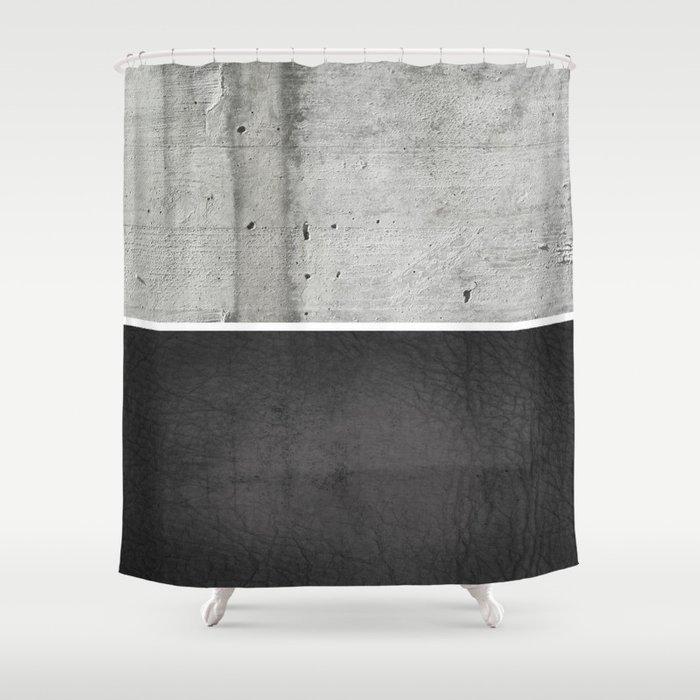 Raw Concrete And Black Leather Shower Curtain By Cafelab