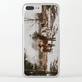 Wild Horses in the Snow Clear iPhone Case