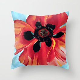 RED POPPY ON BLUE BACKGROUND COPY Throw Pillow
