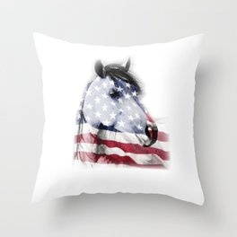 Patriotic Horse Head Horse Lover Independence Day Throw Pillow